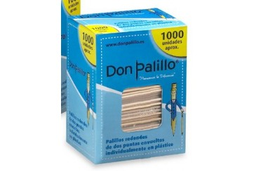 Pack de 5 Estuches de 1000 Palillos enfundados transparentes