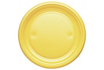 Pack de 12 paquetes de 10 Platos plástico 21 cms. Amarillos