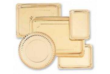Paquete de 100 Platos cartón 25 cms. oro