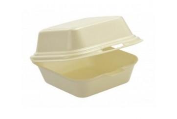 Caja de 500 Estuches foam hamburguesa pequeña 13,5x13,5x7 cms.