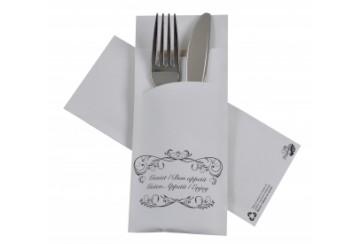 Caja de 520 Sobres papel 8,5x20 cms. negro con servilleta tissue 2 capas 33x33 cms. blanca