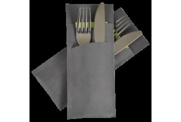 Caja de 520 Sobres papel 8,5x20 cm. gris con servilleta tissue 2 capas 33x33 cms. lima