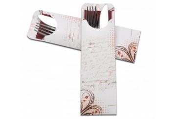 Caja de 600 Sobres papel cerrados 7x23,5 cms. burdeos con servilleta tissue 2 capas 40x40 cms. burdeos