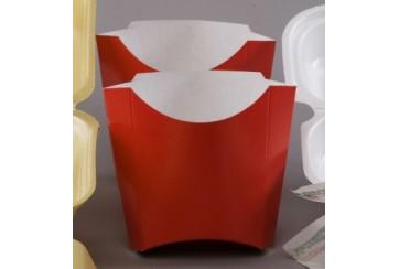 Paquete de 100 Barquitas cartón para patatas fritas 11x10 cms. (