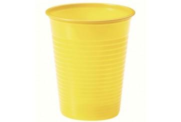 Pack de 12 paquetes de 24 Vasos plástico 200 c.c. Amarillos