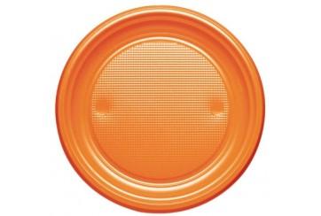 Pack de 12 paquetes de 10 Platos plástico 21 cms. Naranjas