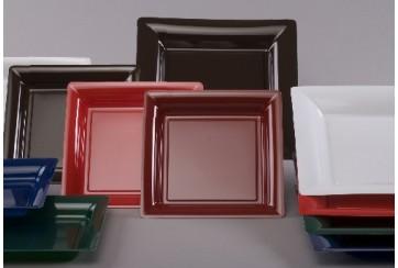 12 Platos plástico cuadrados D235 colores