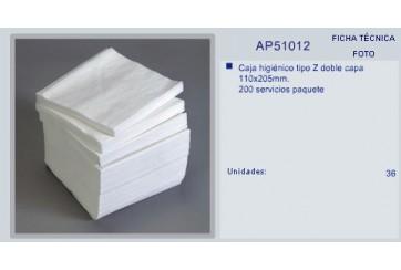 Caja de 40 paquetes de 200 hojas Papel higiénico 2 capas Zig-Zag